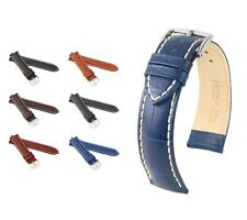 "HIRSCH Alligator Style Watch Band ""Modena"", 18-24 mm, 6 colors, new!"