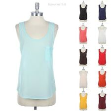 Sheer Sleeveless Tank Top with Chest Pocket Round Neck Relaxed Fit Casual Comfy
