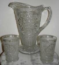 Indiana Glass Rosette with Pinwheels Pitcher 2 tumblers