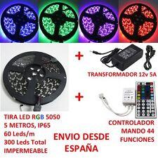 Kit Tira de Led RGB 5050 5m IP65 + Controlador Mando 44 Teclas +Transformador 5A
