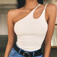 Women Ladies Sleeveless Solid Strapless Skew Collar Blouse Shirt Pullover Tops