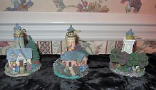 Thomas Kinkade 3 Illuminated Lighthouse Ornaments 2002 Bradford Editions 38660
