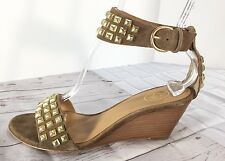 ASH Diva Gold Studded Suede Wedges in Size 7 Euro 37 MSRP $215