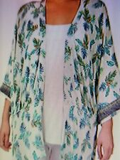 RXB Woman Casual Plus Size Palm Printed Fringed Kimono Jacket- Size 1X