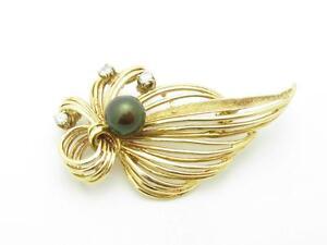 14k Yellow Gold & Diamonds Black Tahitian Pearl Vintage Estate Brooch Pin Gift