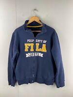 FILA Men's Long Sleeve Fleece Athletic Full Zip Jacket Size L Blue