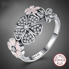 925 Silver Woman Fashion Jewelry White Topaz Wedding Engagement Ring Size 6-10