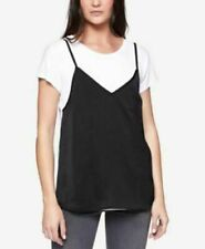 Sanctuary Women's Clothing Faux Cami Basic T-Shirt White / Black Small