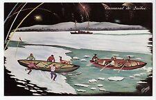 Course de Canots à Glace Carnaval de QUEBEC QC Canada Carte Signée R. Drouin