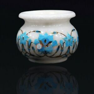 Marble White Flower Storage Vase Turquoise Inlaid Marquetry Floral Design Decor