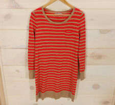 Gap Striped Sweater Dress Wool Blend Sz M Orange Tan Cashew Crunch Novelty Fall