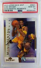 2003-04 Upper Deck MVP Monumental Moments Kobe Bryant #MM1, PSA 10, Pop 12