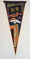 Vintage 1999 Super Bowl XXXIII Denver Broncos Champions Full Pennant Vertical