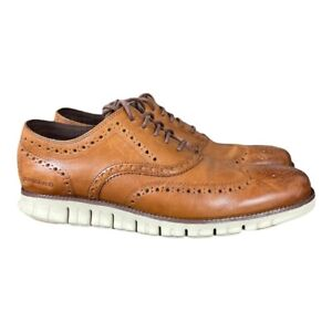 Cole Haan ZeroGrand Wingtip Oxford British Tan Brown Shoes C14493 Mens 12