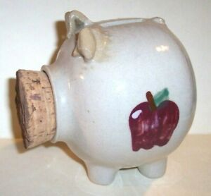 CORK PIGGY COIN BANK Barton Potteries Sponge Apple Stoneware Mug Dresden Ohio