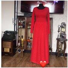 Long Sleeve Full Length Maxi Red Dress, Prom, Ball,  handmade size 8-10 Medium