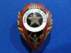 ROMANIAN ARMY ENAMEL BREAST BADGE FOR GOOD ENGINEER  - COMMUNIST ISSUE