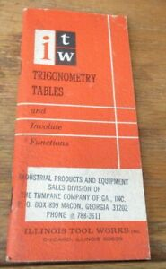 ITW Illinois Tools Trigonometry Tables and Involute Functions (Pamphlet, 1969)