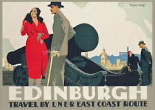 Art Deco VINTAGE Railway POSTER Edinburgh Castle Scotland Travel Ad PRINT A3 A4