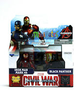 Marvel Minimates Iron Man Mark 46 & Black Panther Series 66 Captain America