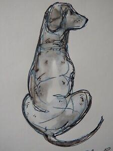 Original signed pen & ink wash sketch drawing of a dog