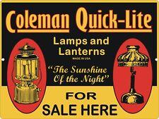 Vintage Retro Reproduction COLEMAN Lamps & Lantern Quick-Lite Metal Tin Sign