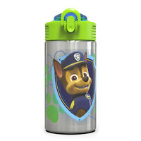 Zak Designs Kids Stainless Steel 15 oz. Durable Water Bottle Spout Cover Push