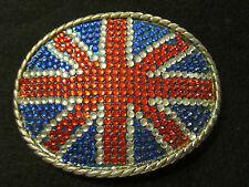Union Jack British Flag Metal Belt Buckle Oval w/ Inset Stones