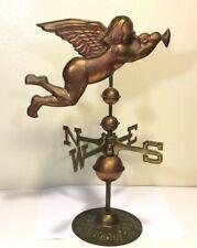Vintage Copper Angel / Cherub blowing Trumpet Weathervane Copper & Brass