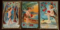 ~Beautiful~Lot of 3 Cupids with Hearts~Antique Valentine's Day Postcards--s185