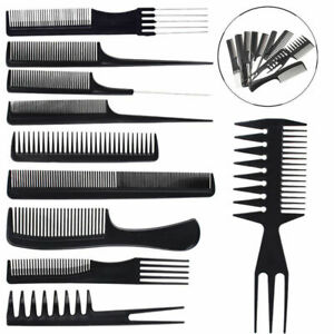 10pcs/Set Hair Styling Combessional Black Hairdressing Barbers Salon Gift