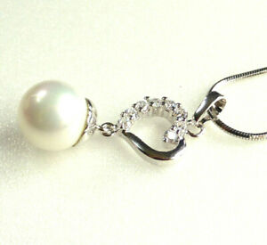 Women Pendant Necklace Chain White Gold Plated 10mm Pearl Open Heart Charm UK