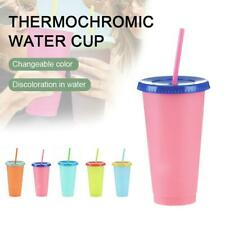 1/5 Packs Color Changing Tumblers Lids Straws Reusable Cold Drink Cups