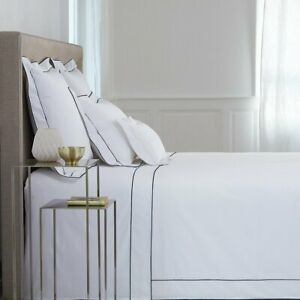 FRANCE YVES DELORME FLANDRE WHITE COTTON PERCALE DUVET COVER WITH COLOR TRIM