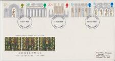 GB Royal Mail FDC 1989 Navidad Ely sello conjunto Pegatina Truro PMK Po