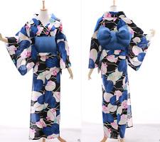 k-029 Azul Negro Blanco Hojas Floral Original Japón kimono yukata OBI Cinturón