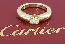 Cartier 0.50 ct 18K Yellow Gold Round Cut Diamond Solitaire Engagement Ring