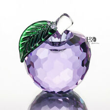"1.6"" Light Purple Crystal Apple Paperweight Figurine Wedding Party Decor Gift"