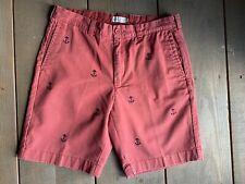 "Mens J CREW Size 32 Brick Red Grammercy Embroidered Cotton Shorts 9"" Inseam"