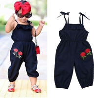 Kids Girls Strap Flower Sleeveless Romper Jumpsuit Playsuit Outfits Clothes 1-6Y