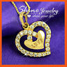 9K 9CT GOLD FILLED LOVE HEART DIAMOND CREATED WOMENS SOLID PENDANT NECKLACE GIFT