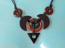 EDELSTEIN COLLIER SCHMUCK KREATION mit Leder Onyx schwarz mit schöne Jaspise,