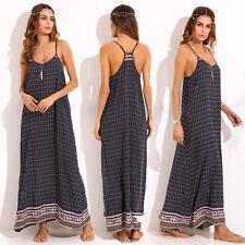 Women Summer Spaghetti Straps Beach V Neck Floral Boho Maxi Long Dresses Vestido