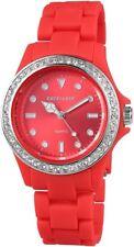 EXCELLANC Damenuhr Rot Kunststoff Strass Analog Quarz Armbanduhr X-225185000003