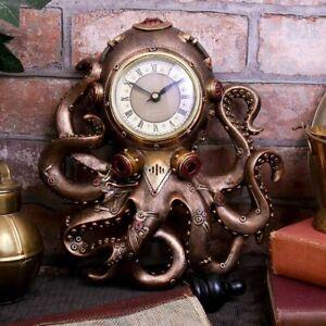 Octoclock Steampunk Octopus Squid Wall Clock 26cm nemesis now