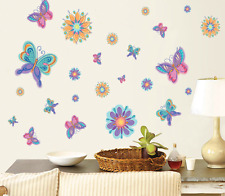 Large Flower Classic Butterfly Art Decor Wall Stickers Kids Room Decals for Girl