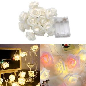 Rose Flower Battery Lights String Fairy 50 LED Wedding Party Garden 5M