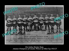OLD POSTCARD SIZE PHOTO OF PORT ARTHUR ONTARIO ICE HOCKEY TEAM ALLAN CUP 1924
