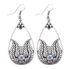 Bohemian Ethnic Style Crystal Water Drop Flower Women Dangle Hook Earrings
