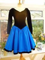 STUNNING VINTAGE *LAURA ASHLEY* BLACK VELVET & BLUE 50's STYLE SWING DRESS UK 8